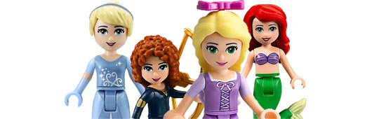 Illustration Lego cendrillon-merida-ariel et Raiponce