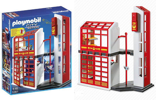 5361 caserne de pompiers avec alarme de playmobil. Black Bedroom Furniture Sets. Home Design Ideas