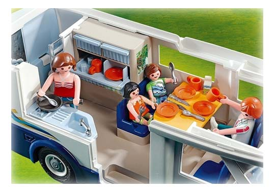 Grand camping car familial playmobil 4859 summer fun for Equipement interieur camping car