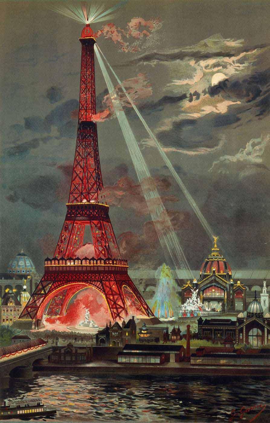 affiche l 39 embrasement de la tour eiffel pendant l 39 exposition universelle de 1889. Black Bedroom Furniture Sets. Home Design Ideas