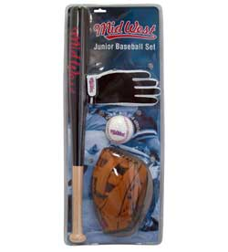 Midwest Set de baseball junior Noir/marron/Blanc Batte 61 cm/Gant 24 cm/Balle 23 cm